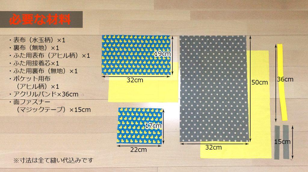 DIY おむつポーチの作り方 How to make a diaper pouch材料